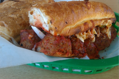 Meatball Sandwich with onions, peppers, and mozzarella cheese from Premium Pizza