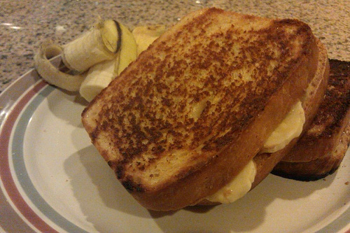 A homemade fried peanut butter and banana sandwich on fresh baked bread