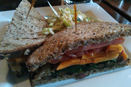 A portobello mushroom and butternut squash sandwich from Skinner's Loft in Jersey City, NJ