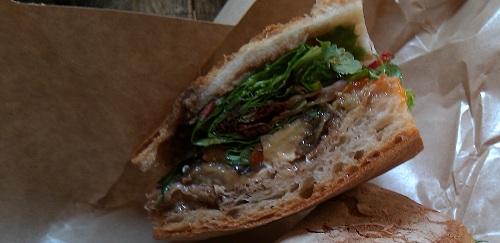 The Roasted Eggplant & Mozzarella Sandwich at Los Gatos Gourmet
