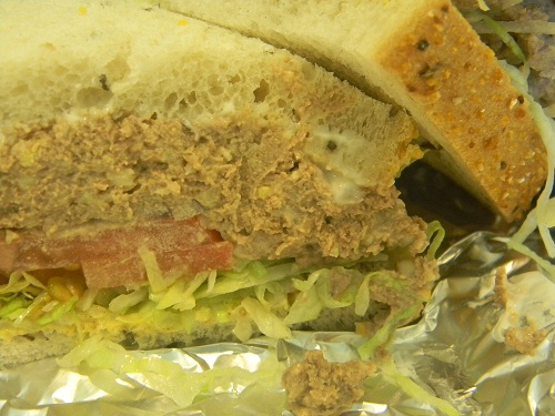 A closeup of the chopped chicken liver sandwich.