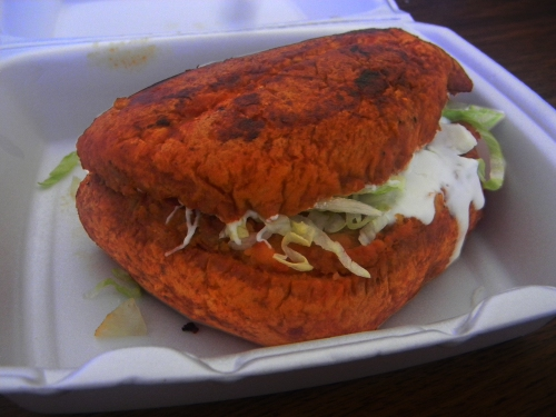The pambazo original from the El Tucan food truck in San Jose.